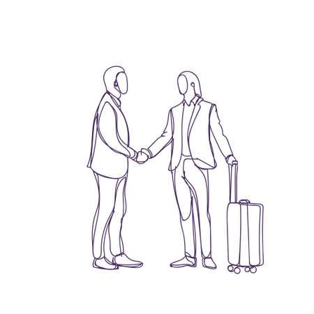 Sketch Business Man Greeting Businessman With Suitcase Silhouette Meeting Vector Illustration Ilustração