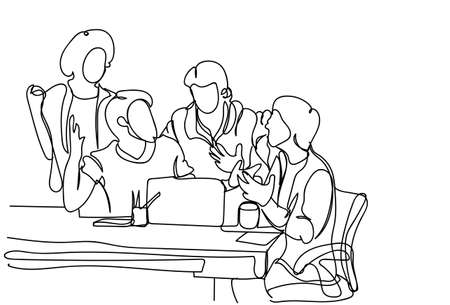 Creative Team Brainstorming Doodle Business Men Discuss New Ideas, Plan And Strategy At Meeting Vector Illustration 写真素材 - 97119235