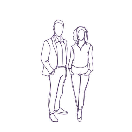 Successful Business Man And Woman Couple Doodle Male And Female Silhouette On White Background Vector Illustration