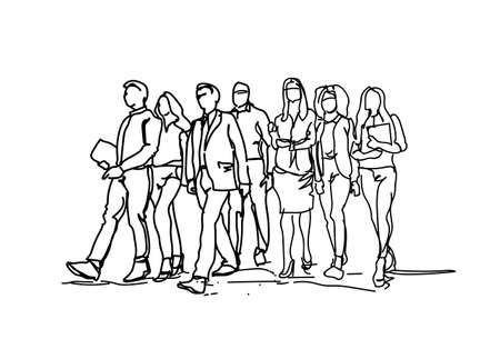 Group Of Hand Drawn Business People Walking Forward, Sketch Businesspeople Team Of Professionals On White Background.