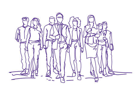 Sketch Businesspeople Team Moving Forward Over White Background, Group Of Hand Drawn Business People.