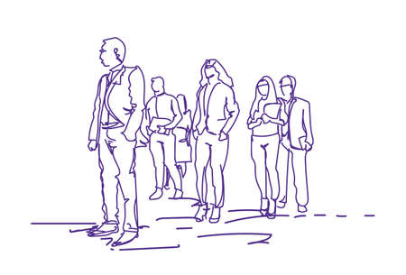 Group Of Business People Walking, Doodle Businesspeople Team Of Office Workers On White Background Vector Illustration
