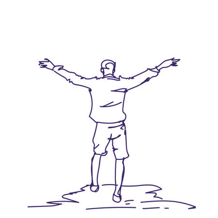 Cheerful Hand Drawn Man With Raised Hands Back Rear View Of Doodle Happy Guy Freedom Concept Vector Illustration