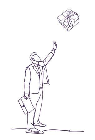 Business Man Point Finger On Gift Box On White Background Doodle Businessman Vector Illustration Vettoriali