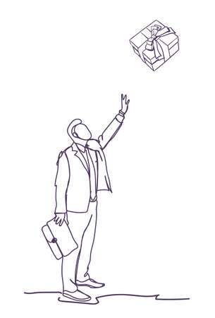 Business Man Point Finger On Gift Box On White Background Doodle Businessman Vector Illustration Vectores