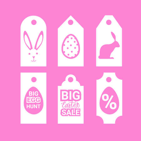 Set Of Easter Sale Signs Shopping Holiday Special Offer Tags On Pink Background Vector Illustration