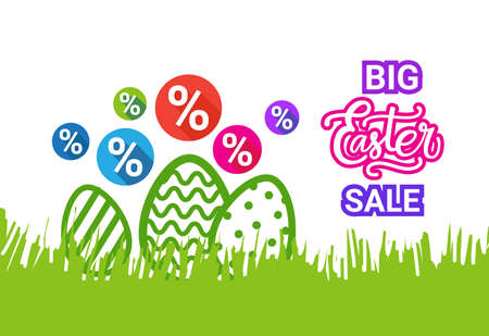 Big Easter Sale Poster Holiday Discounts Banner With Decorative Eggs In Green Grass Vector Illustration