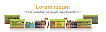 Supermarket with assorted grocery foods flat illustration Illustration