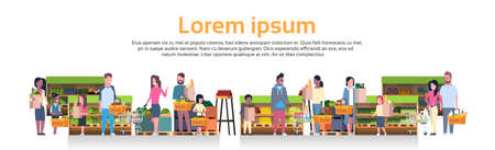 Group Of People Holding Bags, Baskets And Pushing Trolleys Over Supermarket Shelves With Grocery Products Consumerism Concept Flat Vector Illustration Stock Illustratie