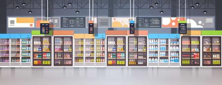 Supermarket interior flat illustration.