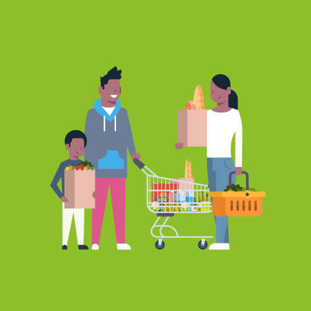 African American Family Shopping Holding Paper Bag, Trolley And Basket Full Of Grocery Products Flat Vector Illustration