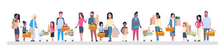 Group of people holding paper bags flat illustration Illustration