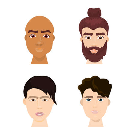 Set Of Diverse Hipster Man Faces With Beards And Trendy Hairstyles Isolated Icon Collection Flat Vector Illustration Vectores