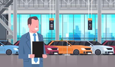 Seller Man In Cars Dealership Center Showroom Interior Over Set Of New Modern Vechicles Flat Vector Illustration