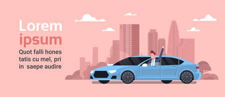Happy Owner Driving New Car Over Silhouette City Background Vechicle Purchase Concept Flat Vector Illustration 일러스트