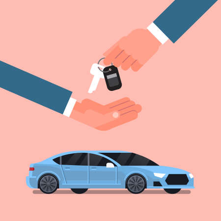 Car Purchase Sale Or Rental Concept, Seller Man Hand Giving Keys To Owner Over New Vechicle Flat Vector Illustration