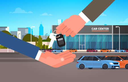Car Purchase Sale Or Rental Concept, Seller Man Hand Giving Keys To Owner Showroom Center Background Flat Vector Illustration