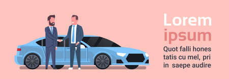 Car Buying Seller Man Giving Keys To Owner Vehicle Purchase Sale Or Rental Center Concept Flat Vector Illustration Vettoriali
