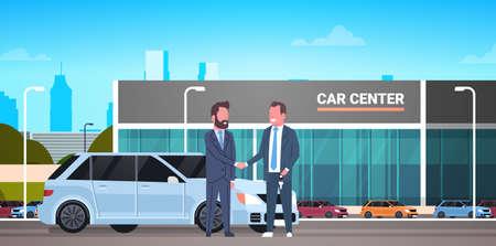 Car Showroom Background, Purchase Sale Or Rental Center Seller Man Giving Keys To Owner Flat Vector Illustration  イラスト・ベクター素材