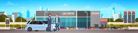Acquisto vendita o noleggio centro venditore uomo che dà le chiavi al proprietario Showroom auto sfondo banner orizzontale piatto illustrazione vettoriale