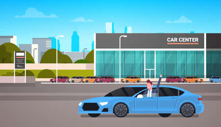 Happy Owner Driving New Car Over Dealership Center Showroom Building Background Flat Vector Illustration Çizim