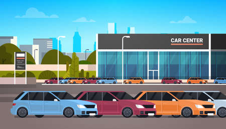 New Vechicles Over Car Dealership Center Showroom Building Flat Vector Illustration