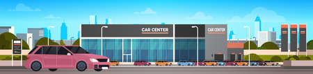 Car Dealer Center Showroom With New Vechicle Horizontal Banner Flat Vector Illustration Vettoriali