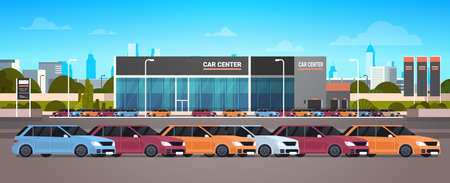 New Vehicles Car Dealer Center Showroom Building Flat Vector Illustration