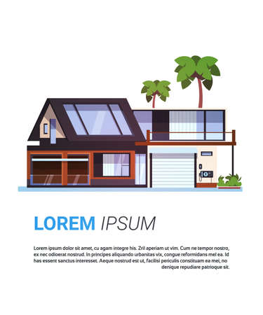 Modern House Real Estate Cottage Home Building Design Isolated On Template Background Flat Vector Illustration Vectores