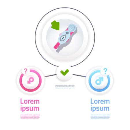 Positive Prenancy Test Male Or Female Sign Infographic Background Flat Vector Illustration Çizim