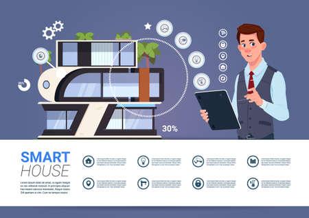 Man Holding Digital Tablet With Smart Home Management System Interface Concept Vector Illustration Çizim