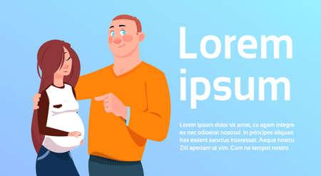 Expecting Parents Man Embracing Pregnant Woman Over Background With Copy Space Flat Vector Illustration Ilustração Vetorial