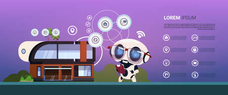 Smart Home Control And Autimation System Robot Over Infographic Banner, Modern Home Administration Technology Flat Vector Illustration