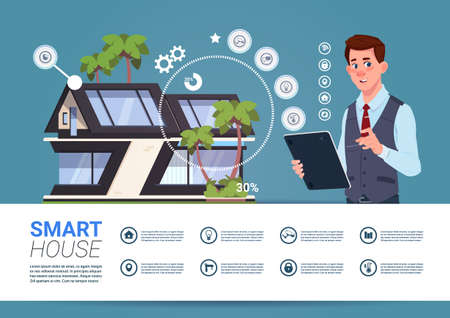 Smart Home Technology Banner With Man Holding Digital Tablet Device With Control System Flat Vector Illustration