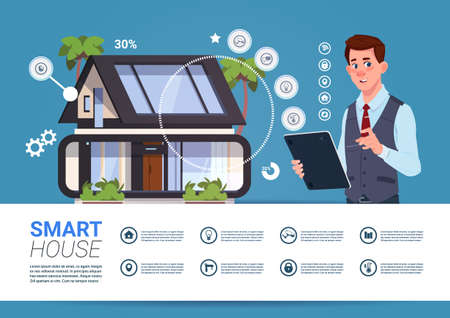 Smart Home Management Concept With Man Holding Tablet Device Flat Vector Illustration
