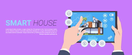 Hand holding digital tablet with smart home control and administration system interface concept template background flat vector illustration Иллюстрация