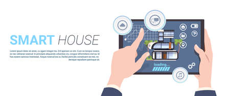 Smart Home Control technology Concept With Hands Holding Digital Tablet Over Template Background Flat  Illustration