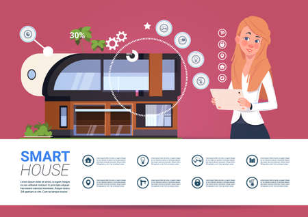 Smart Home Technology Banner With Womam Holding Digital Tablet Device With Control System Flat Vector Illustration
