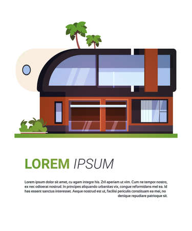 Modern House Villa Or Cottage Real Estate Home Building Isolated On Background With Copy Space Flat Vector Illustration