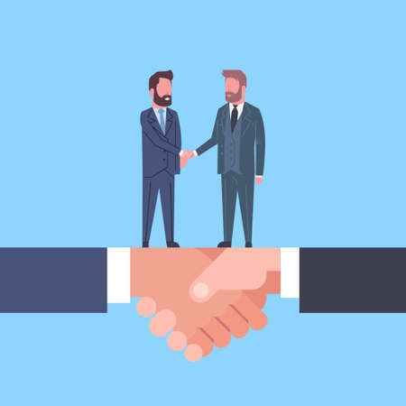 Two Businessmen Shaking Hands, Business Agreement And Partnership Concept Flat  Illustration 向量圖像