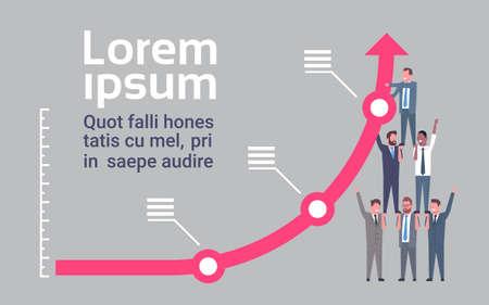 Businessmen Raising Financial Graph Arrow Up Success And Teamwork Concept Flat Illustration Stock Illustratie