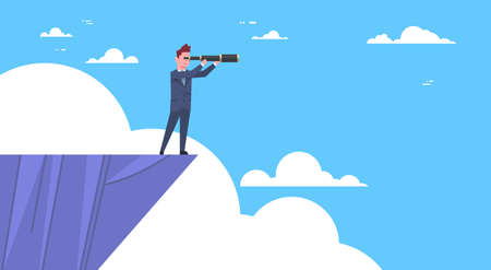 Businessman On Top Of Mountain With Telescope Looking For Success, Opportunities, Business Vision Concept Flat Vector Illustration