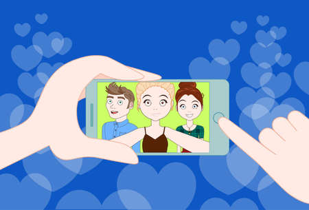 Hand holding smartphone taking selfie photo of young friends together. Illustration