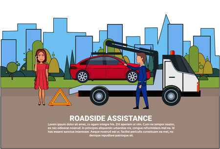 Roadside Assistance Towing Broken Car Over Driver Woman Calling In Insurance Service Flat Vector Illustration Vettoriali