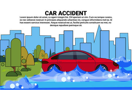 Vehicle Trying To Drive Against Flood Water In Street Flooded Car Accident Vector Illustration