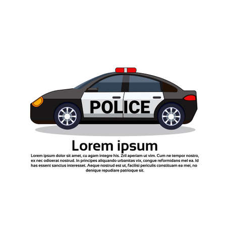Police Car Icon On White Background With Copy Space Side View Flat Vector Illustration