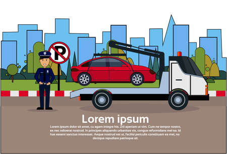 Car In Towing Away Zone Of Parking Vehicle Evacuation View Flat Vector Illustration