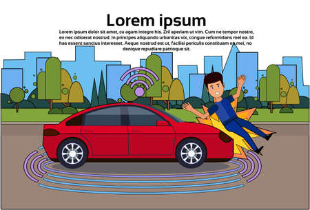 Car Crashed Man On Road Personal Accident Banner Over Silhouette City Background concept Illustration Vettoriali