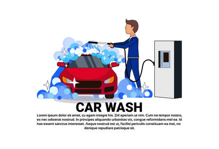 Car wash Service Icon With Worker Cleaning Vehicle Over Copy Space Background Flat Vector Illustration
