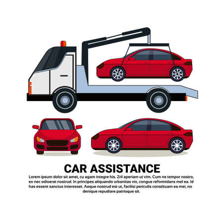 Car Assistance Banner With Car Tow Broken Vehicle Over White Copy Space Background Flat  Illustration